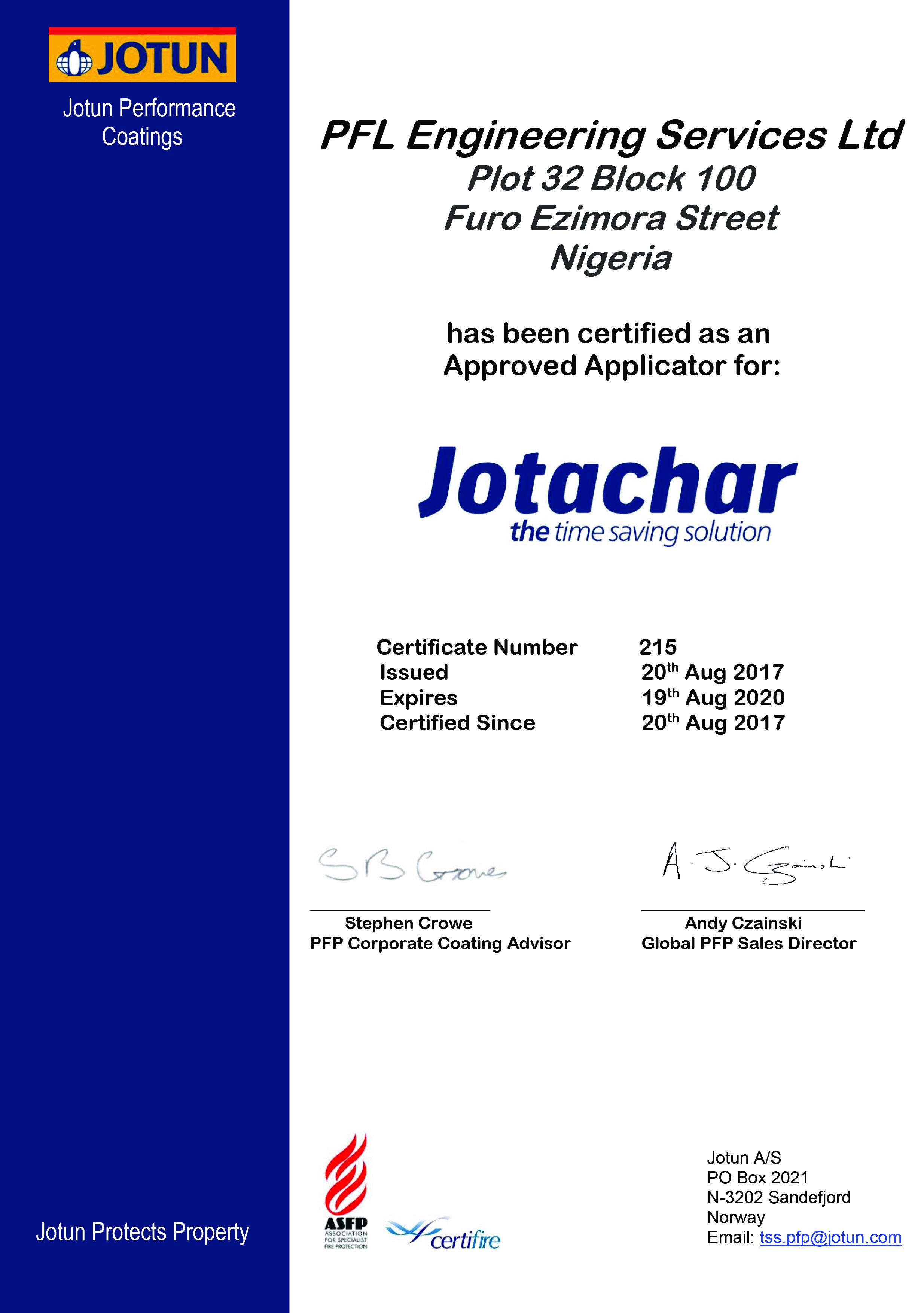 Jotachar Approved Applicator