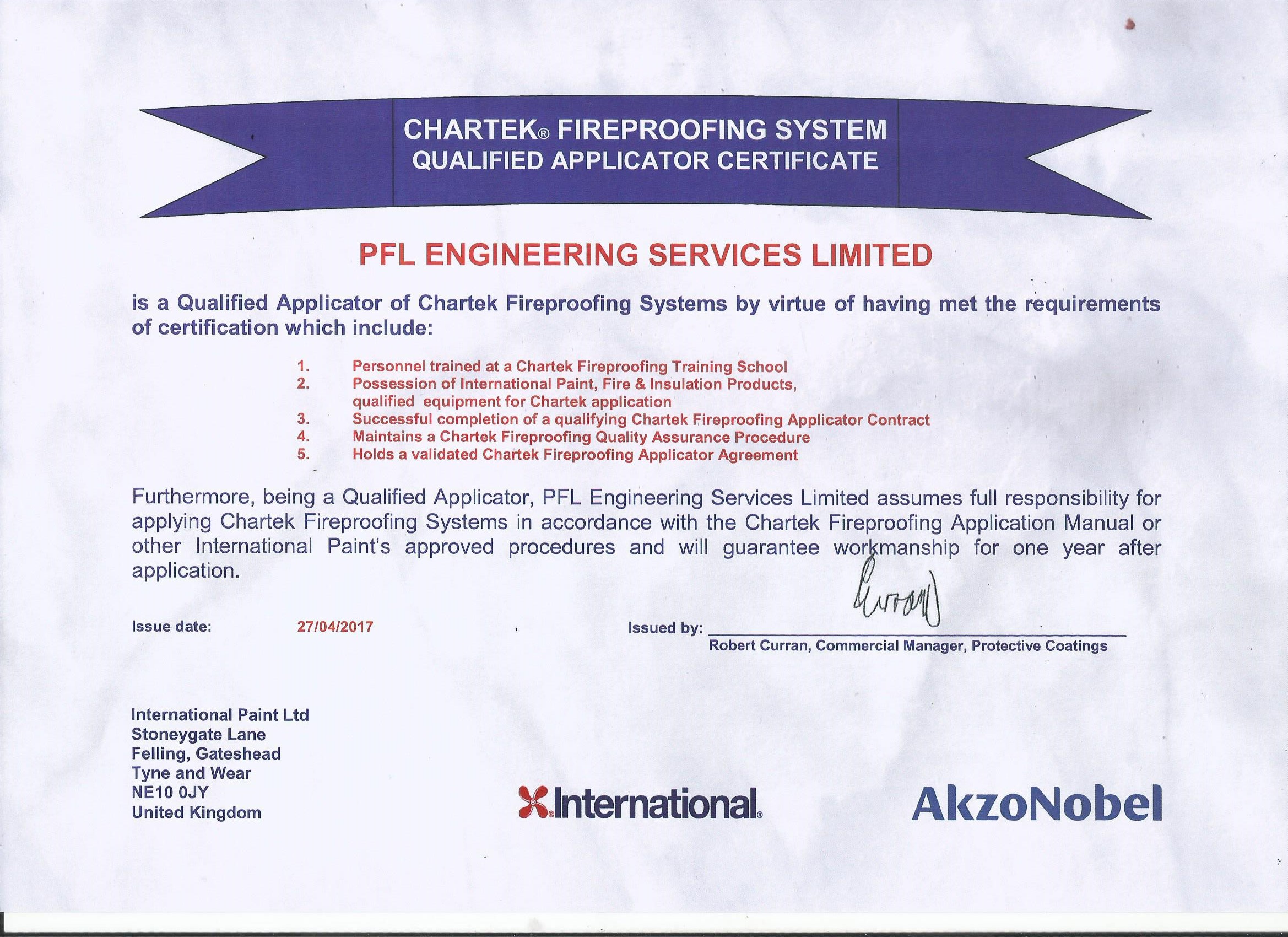 Chartek Fireproofing Applicator Certificate