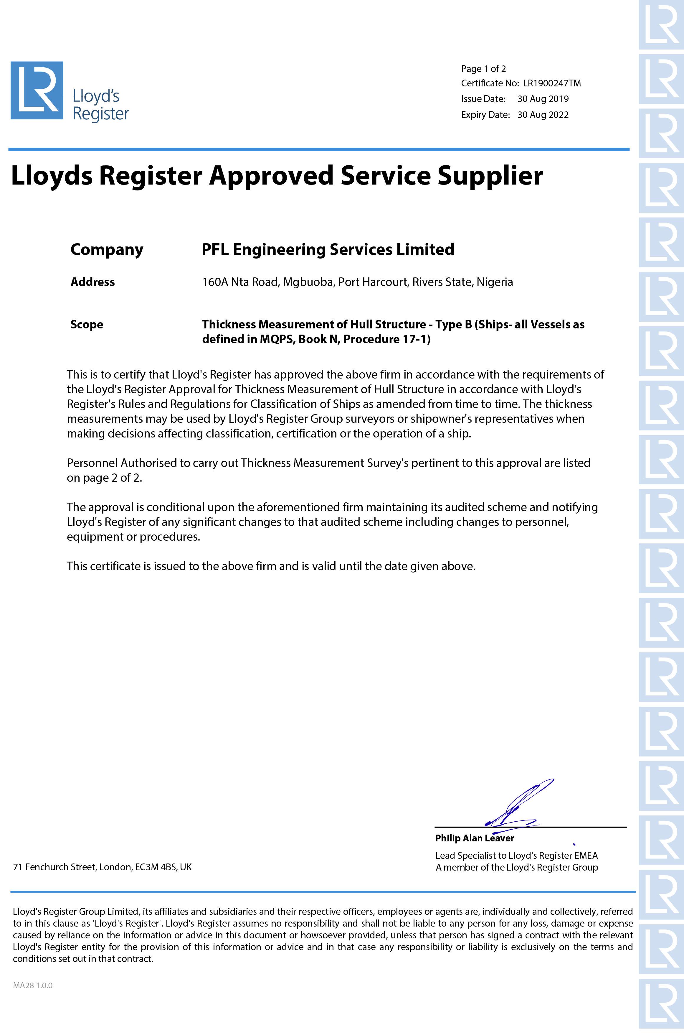 Lloyd\'s Register Approval